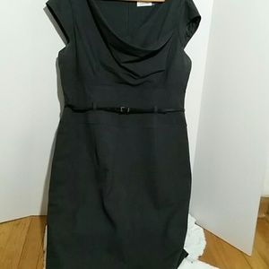 Calvin Klein gray sheath cowl neck dress